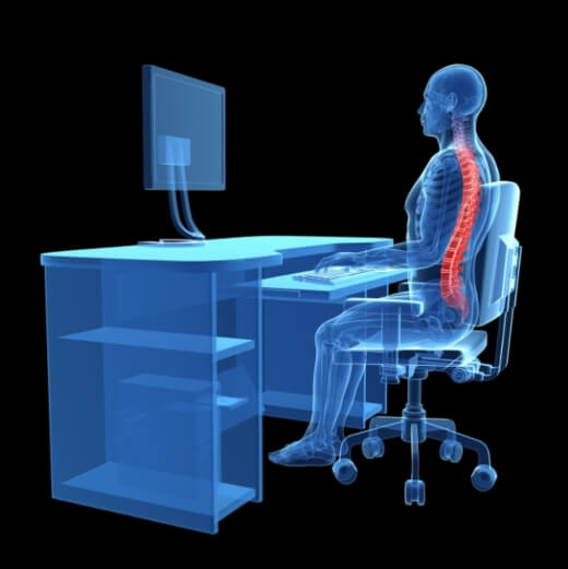 Proper sitting posture at the computer is important for your back and health
